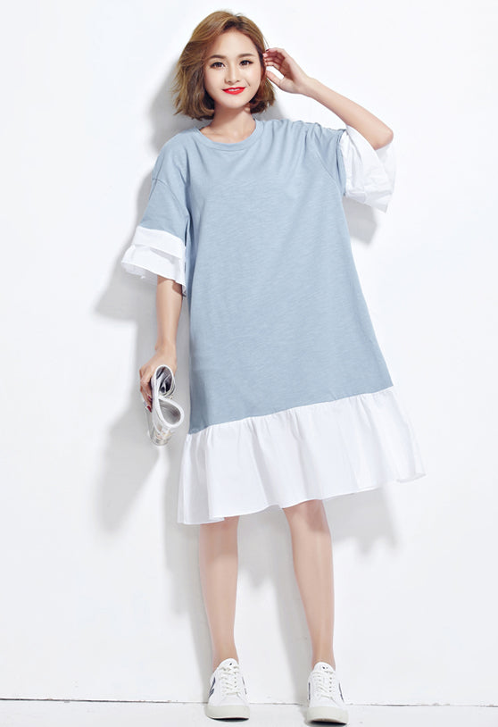 Plus Size Summer Cotton Solid Casual Women Dress - OyeHoe