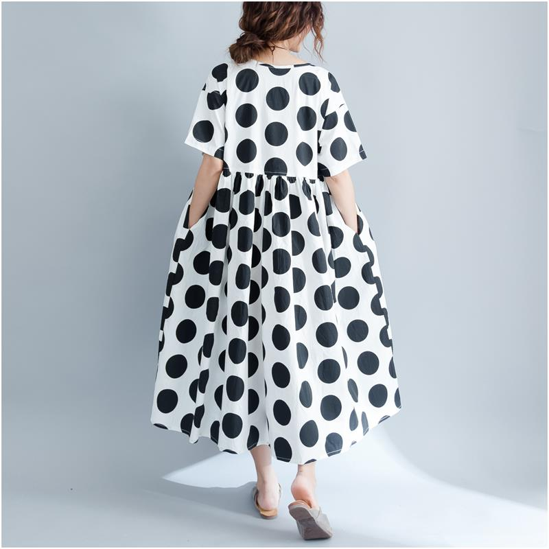 Summer Linen Polka Dot Casual Women Dress