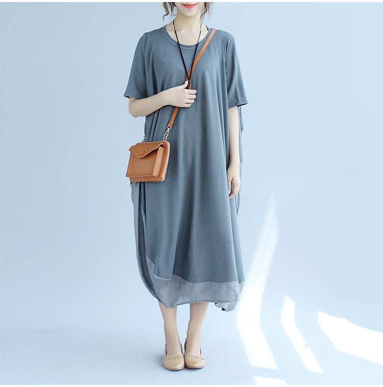 Plus Size Summer Style Cotton Casual Colorful Women Dress - OyeHoe