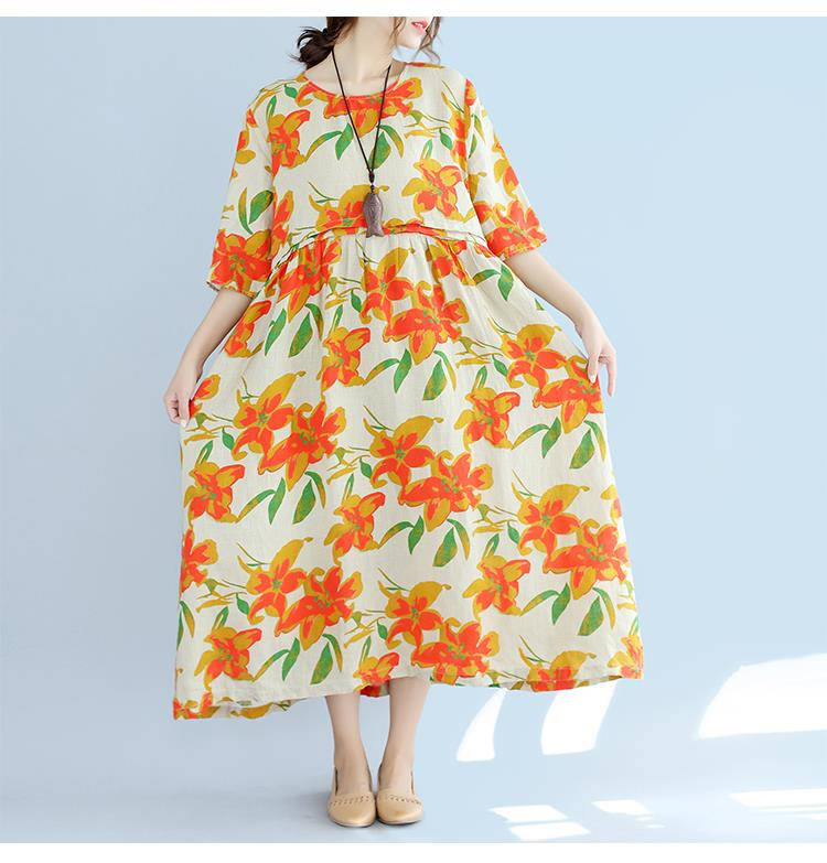 Plus Size Floral Print Summer Style Casual Women Dress - OyeHoe