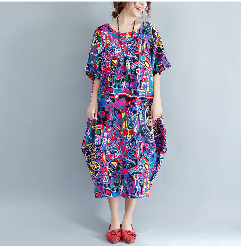 Plus Size Summer Floral Casual Women Dress - OyeHoe