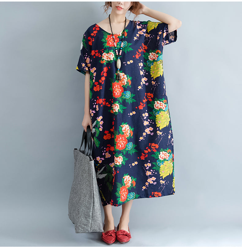 Plus Size Summer Floral Vintage Casual Women Dress - OyeHoe