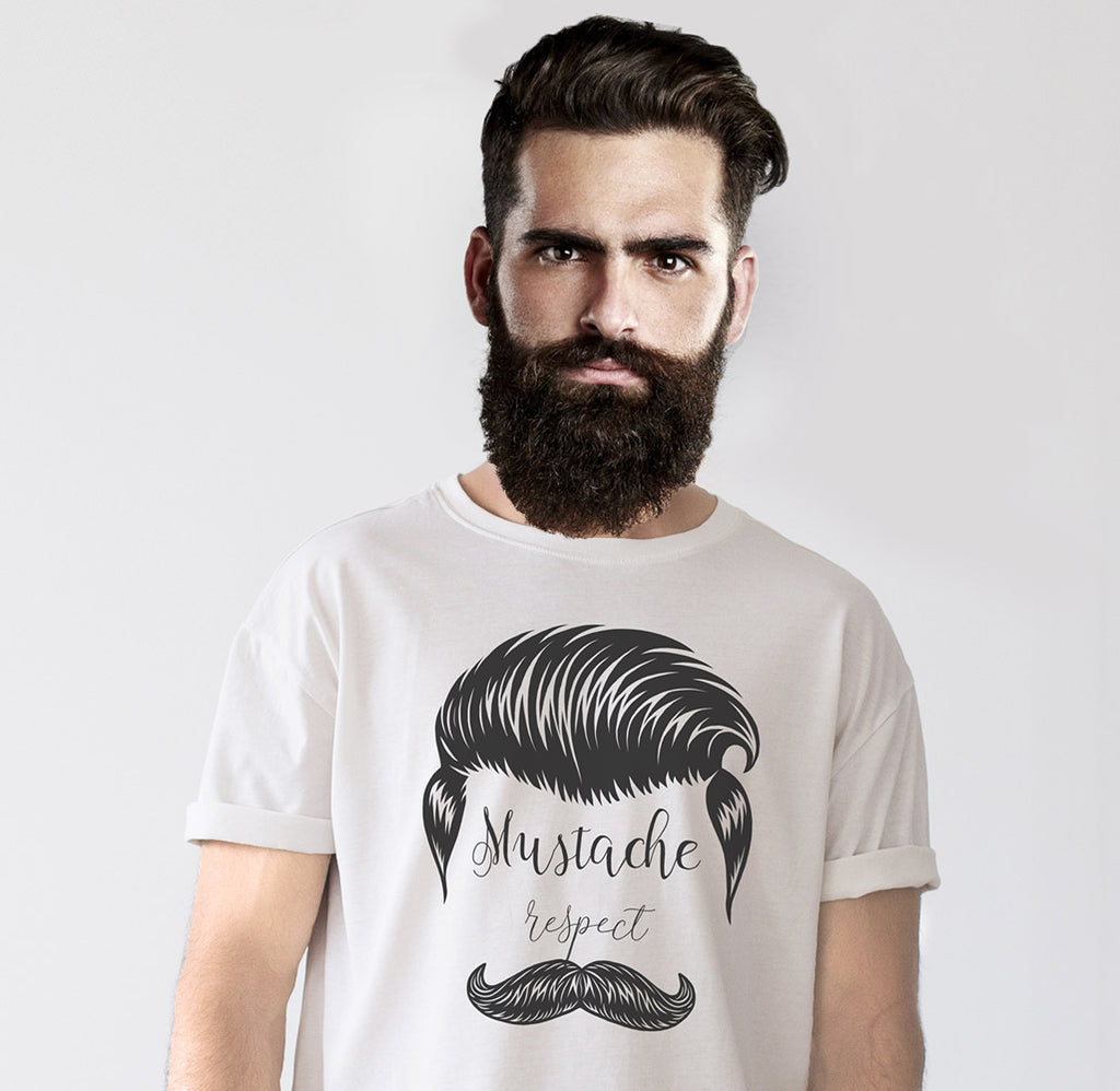 Mustache Respect Half Sleeves Men T-Shirt - OyeHoe