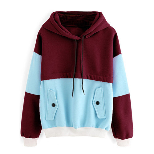Autumn Multicolor Contrast Casual Women Sweatshirt - OyeHoe