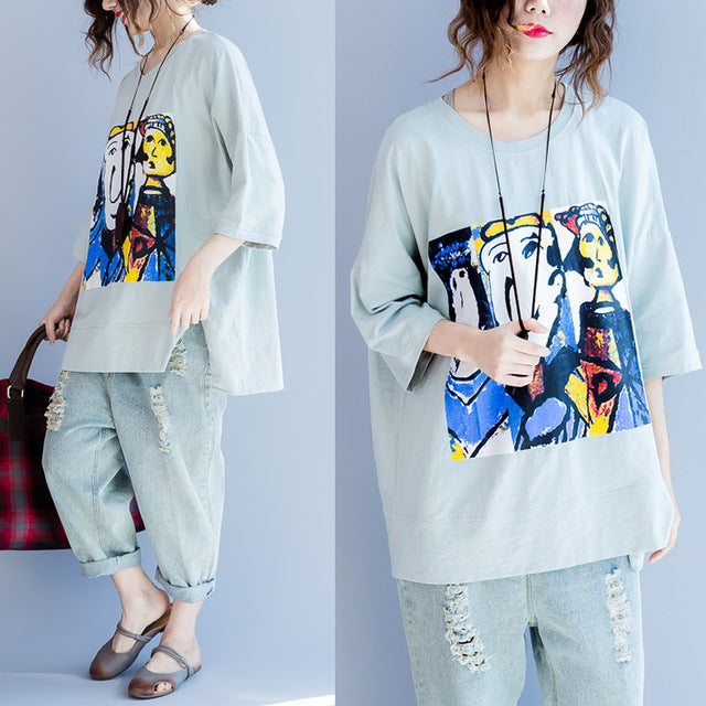 Summer Style Pattern Print Half Casual Women Top