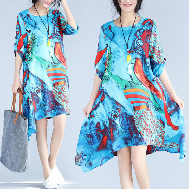 Plus Size Summer Pattern Floral Casual Women Dress - OyeHoe