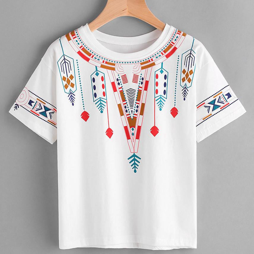 Summer Sexy Short Sleeve Geometry Casual Women Top