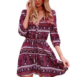 Floral Print Boho Vintage Casual Women Dress