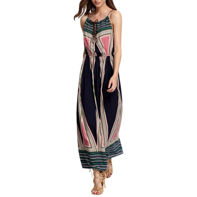 Summer Geometric Ankle-Length Casual Women Maxi