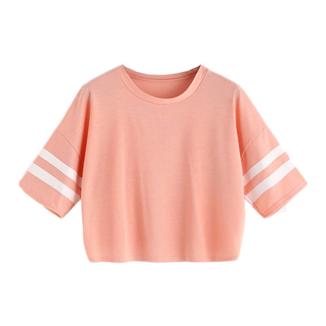 Pink Varsity Striped Summer Casual Women Top - OyeHoe