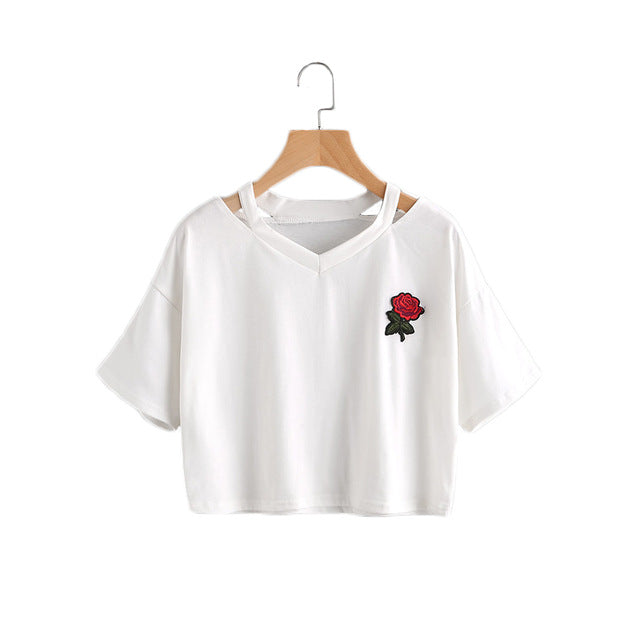 Summer Neck Rose Embroidery Casual Women Top