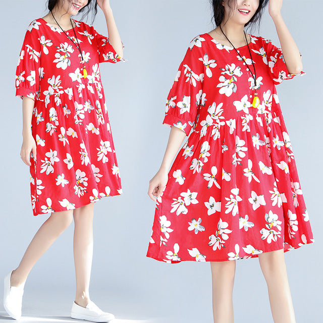 Red Floral Print Linen Casual Women Dress - OyeHoe