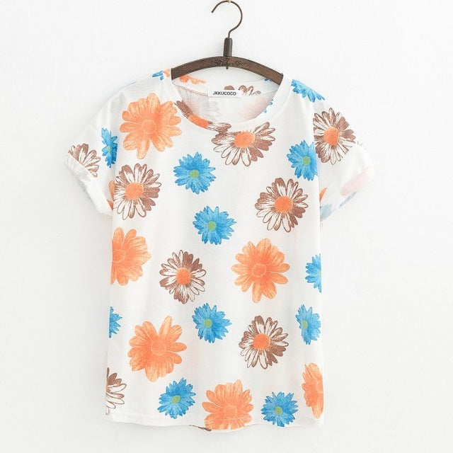 Big Chrysanthemum Flowers Casual Women Top - OyeHoe