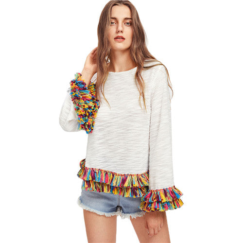 Colorful Fringe Slim Long Sleeve Casual Women Top - OyeHoe