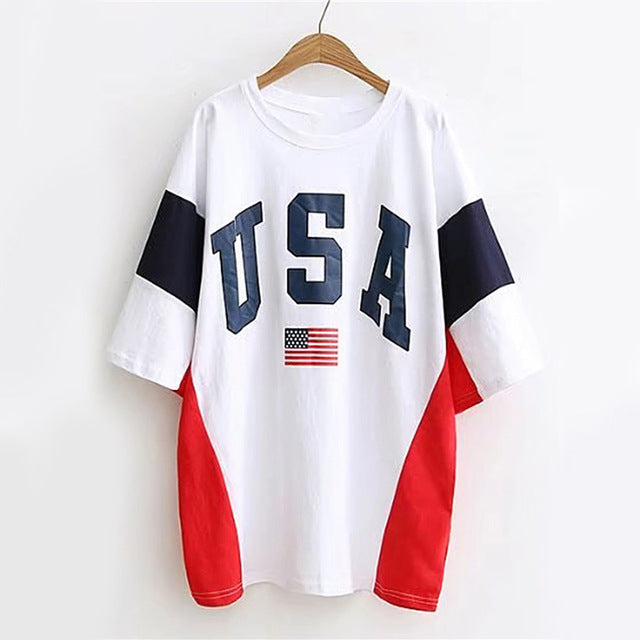 American Flag Loose Casual Women Top - OyeHoe