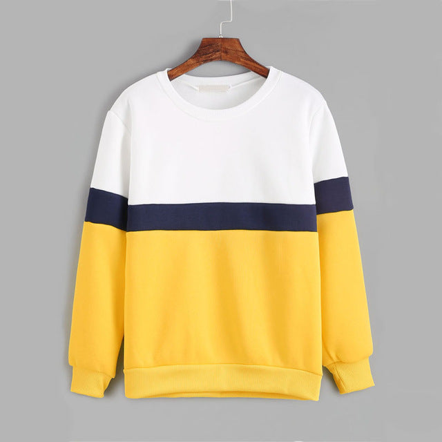 Color Block Long Sleeve Casual Women Sweatshirt - OyeHoe