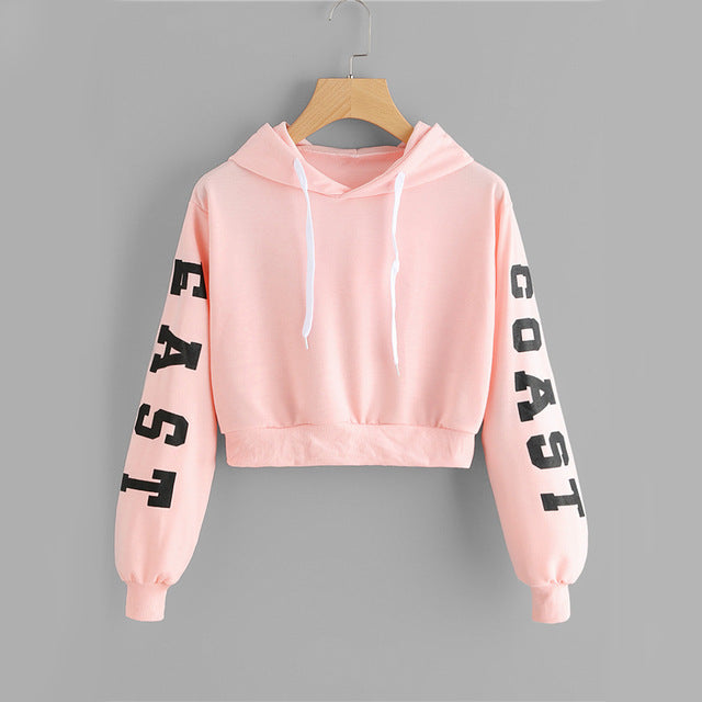 Pink Cropped Kawaii Letter Casual Women Sweatshirt - OyeHoe