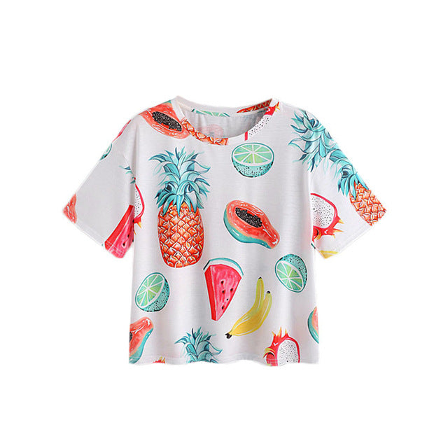 Summer Fruit Short Sleeve Casual Women Top