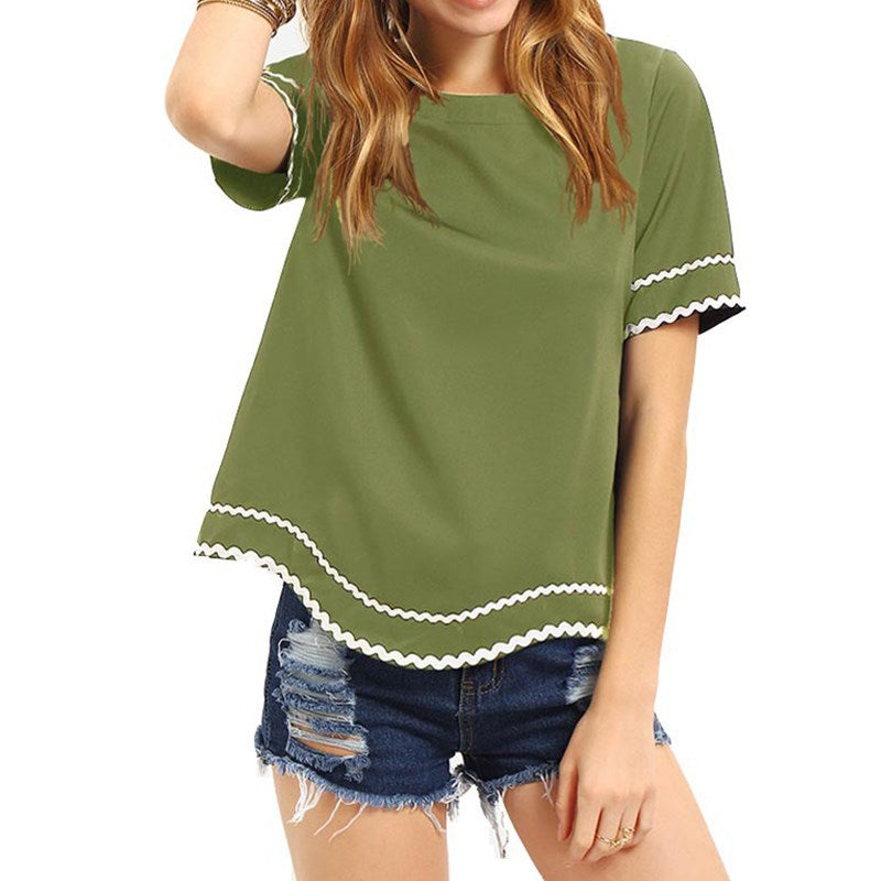 Simple Plain Appliques Patchwork Casual Women Top - OyeHoe
