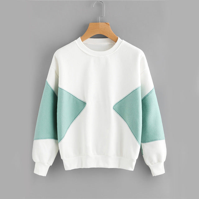 PatchWork Brief Color Block Casual Women Sweatshirt - OyeHoe