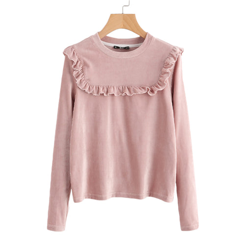 Autumn Frill Ribbed Long Sleeve Casual Women Top - OyeHoe
