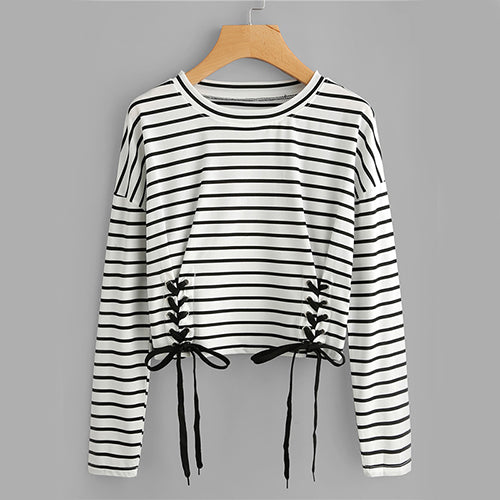 Autumn Eyelet Striped Long Sleeve Casual Women Top - OyeHoe