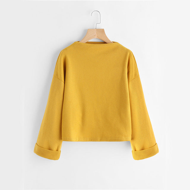 Autumn Ribbed Yellow Cuffed Casual Women Sweatshirt - OyeHoe