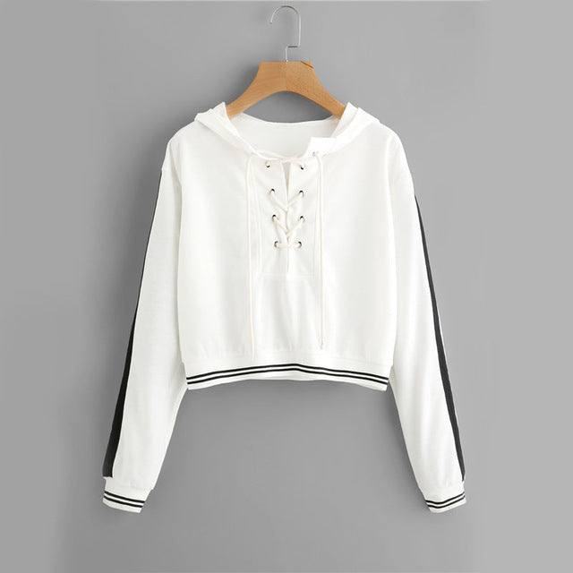 Autumn Lace Up Casual Long Sleeve Women Sweatshirt - OyeHoe