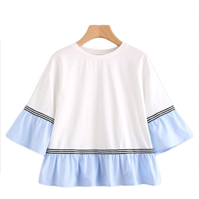 Striped Tape Contrast Frill Trim Casual Women Top - OyeHoe