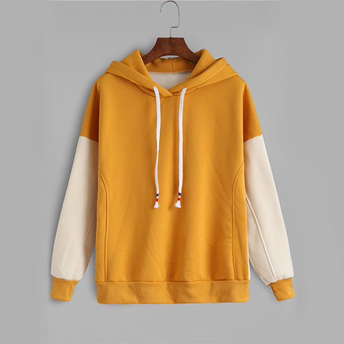 Contrast Mustard Color Block Brief Casual Women Sweatshirt - OyeHoe