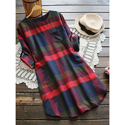 Plaid Rolled Fashion Casual Women Dress - OyeHoe