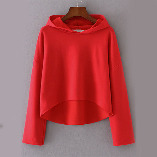 Red Seam Fall Brief Casual Women Sweatshirt - OyeHoe