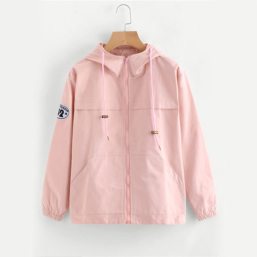 Pink Zip Up Cute Patch Casual Women Jacket - OyeHoe
