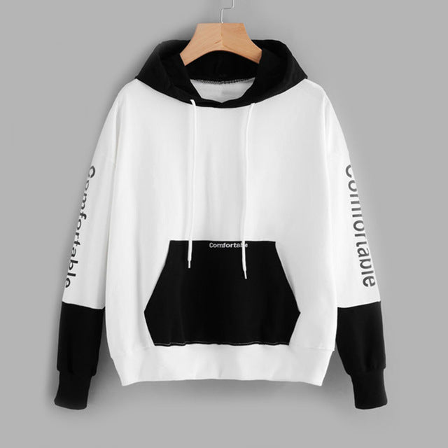 Letter Embroided Color Block Casual Women Sweatshirt - OyeHoe