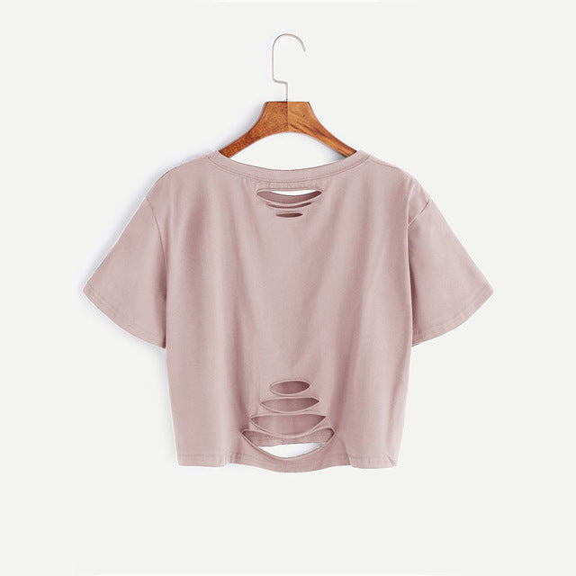 Fashionable Holes Two Sides Casual Women Top - OyeHoe