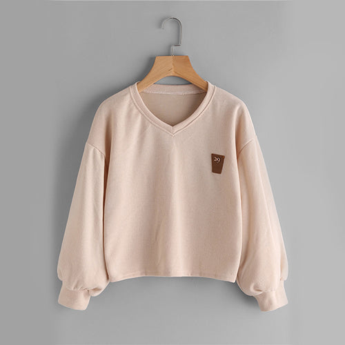 Apricot Cute Lantern Patch Casual Women Sweatshirt - OyeHoe