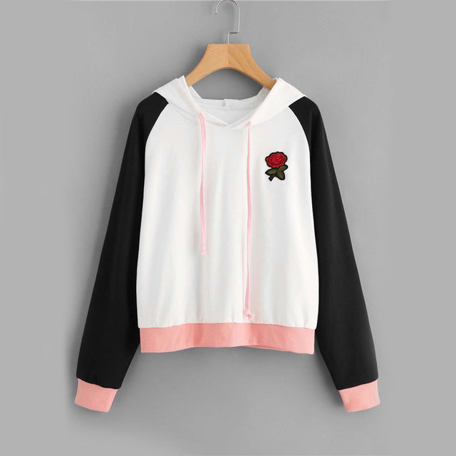 Contrast Rose Patch Casual Women Sweatshirt - OyeHoe