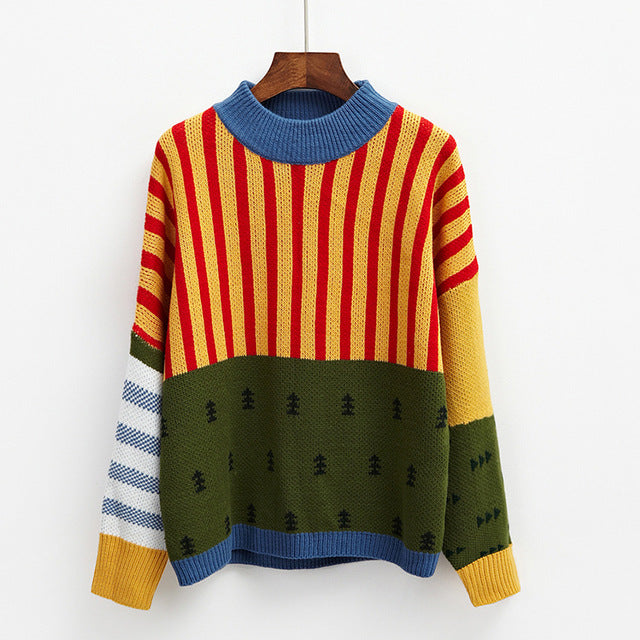 Autumn Bat Head Stripes Casual Women Sweater - OyeHoe