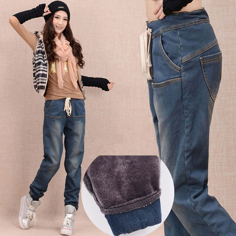Autumn Thicken Fleece Skinny Casual Women Jean - OyeHoe