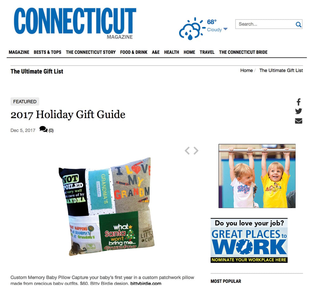 Bitty Birdie Has Been Featured in CT Magazines 2016 Ultimate Holiday Gift Guide