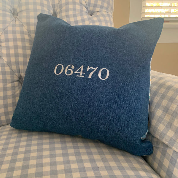 Blue Newtown Zipcode Embroidered Pillow