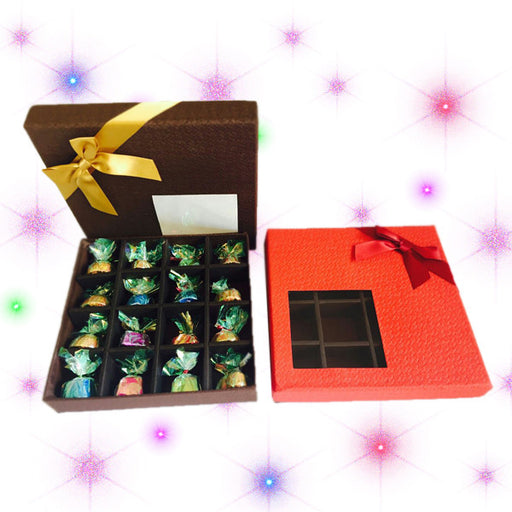 Chocolate Box of 16 Chos. Box decorted with a Ribbon.