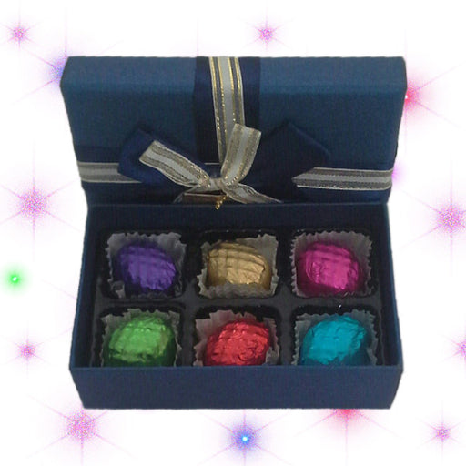Blue box with tasty and delicious chocolates