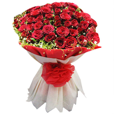 Bunch of Red Roses packed with red ribon