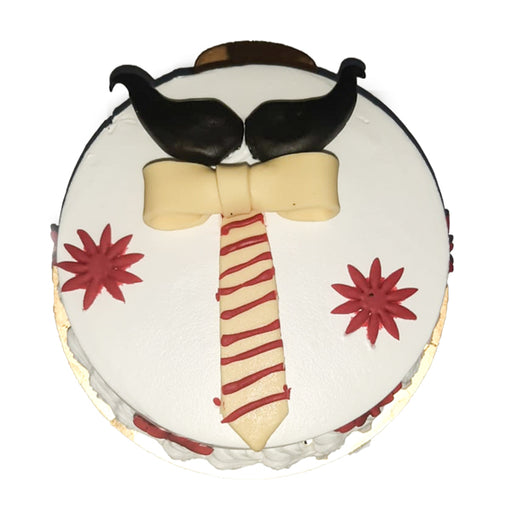Father's Day Mustache-Tie Cake
