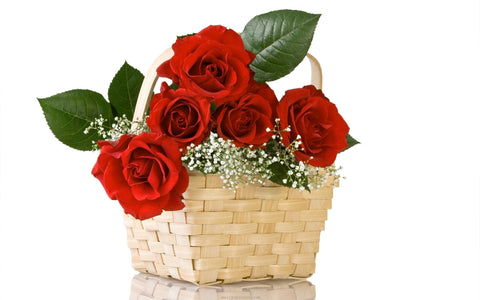 We have filled the lovely basket with fresh handpicked red roses and We have spaced the beautiful roses carefully so as not to crowd them and give them an open look.