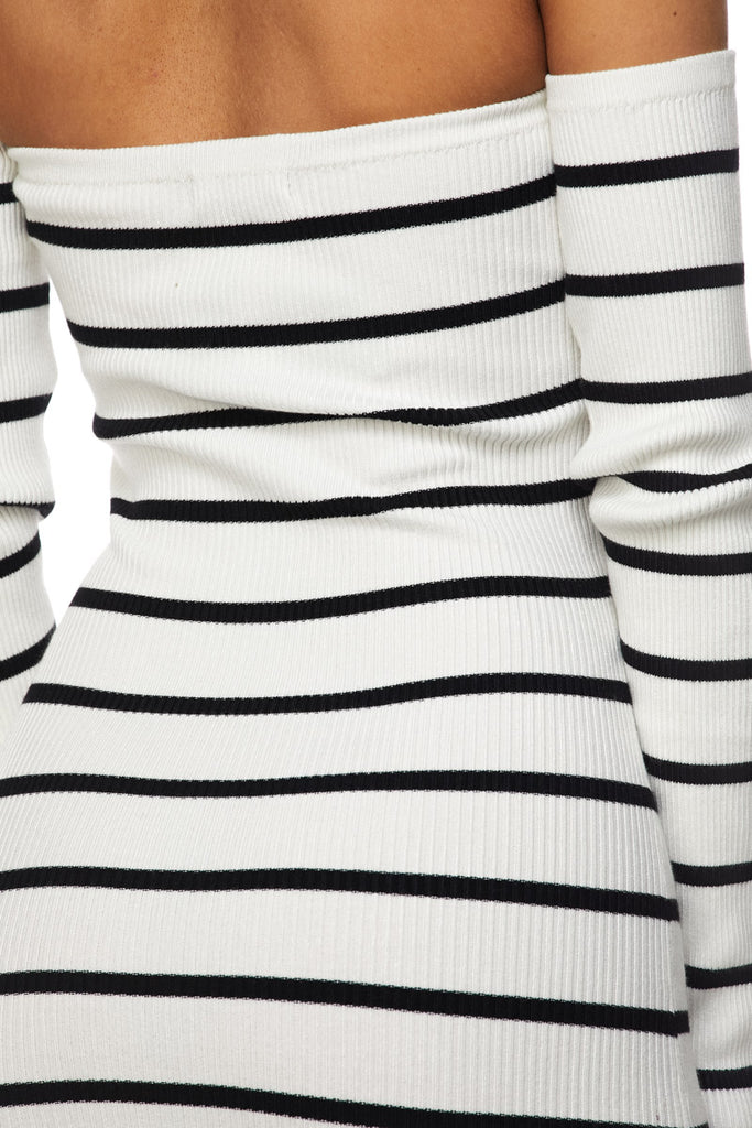 Nikki Love Striped Off Shoulder Dress