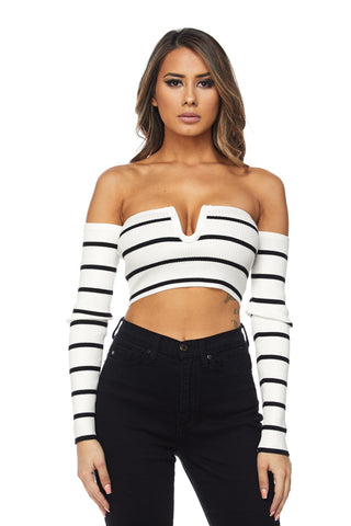 Tyra Stripe Off Shoulder Crop Top