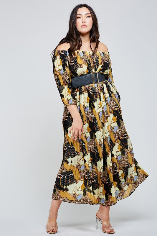LeAnna Leopard Mix Print Maxi Dress Plus