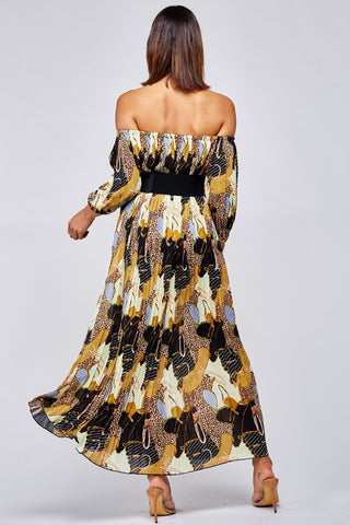 LeAnna Leopard Mix Print Maxi Dress